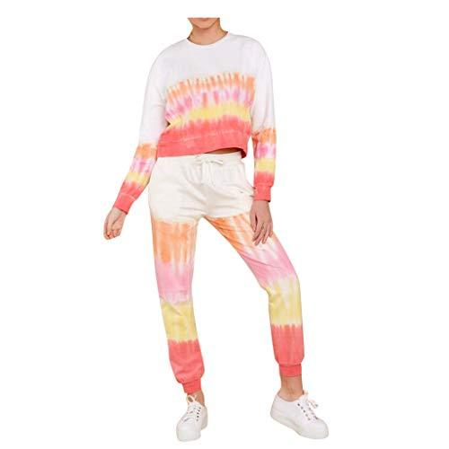 Pistaz Tie-Dye - Conjunto de ropa deportiva para mujer, cuello redondo, manga larga + pantalón, cálido, informal, para yoga, ropa deportiva, amarillo, S
