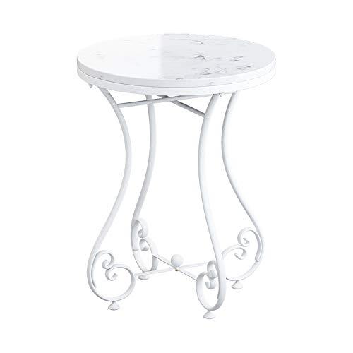 Tables FEI - Bureau d'ordinateur d'appoint en marbre Canapé Rond en métal Basse d'appoint pour Salon Chambre pour Tous Les postes de Travail (Couleur : 06)