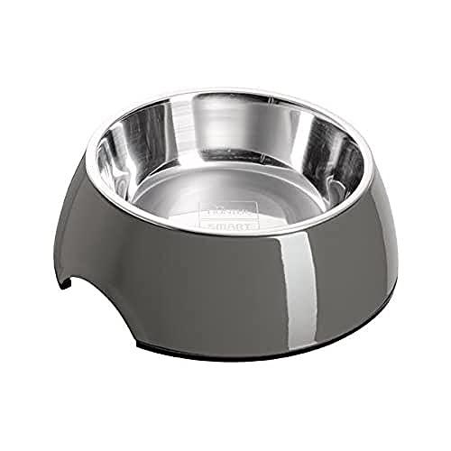 HUNTER Melamin-Napf, Futternapf, Trinknapf für Hunde und Katzen, herausnehmbarer Edelstahlnapf, 700 ml, grau