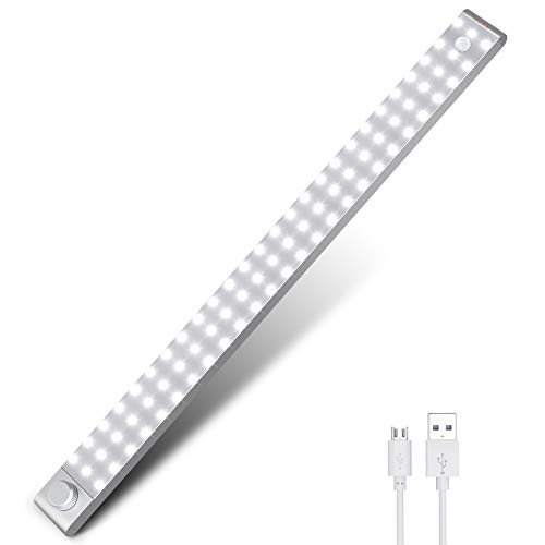 Uooser LED Sensor Licht Bewegungsmelder Küche Lichtleiste Unterbauleuchte 78er LEDs Leiste 3200mAH akku USB Wiederaufladbar Dimmbare Schrankbeleuchtung Neutralweiß 3 Modi Küchenleuchte für viele Räume