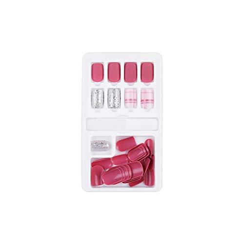 Kapian Gefälschte Nägel Künstliche Nägel 30 Stück Verpackt Abnehmbaren und Wiederverwendbaren Künstlichen Nagel Abnutzungsflecken Geeignet Frisches Rosa Strass Fake Nails Falsche Nägel Mit für Damen