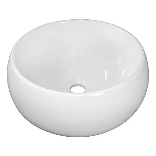 NEG Waschbecken Uno30A (rund) Aufsatz-Waschschale/Waschtisch (weiß) mit hohem Rand und Nano-Beschichtung