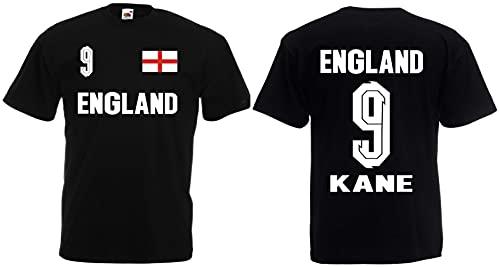 England Kane Herren T-Shirt Britain EM 2020 Trikot Look Shirt Schwarz XL