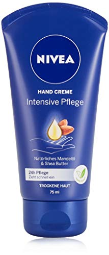 NIVEA Intensive Pflege Hand Creme (75 ml), reichhaltige Hautcreme mit Mandel-Öl für intensive Feuchtigkeit, Handpflege mit dem einzigartigen NIVEA Duft
