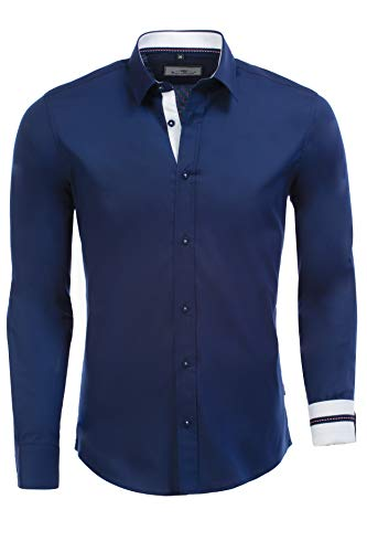 Karl´s People Herren Hemd Langarm Slim-Fit für Freizeit Business Hochzeit K-133, dunkelblau, M