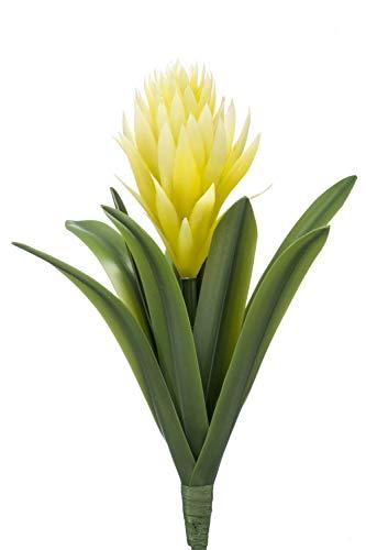 PARC Network Kunstpflanze Bromelie, Blüten, Steckstab, gelb, 30cm - Deko Ananasgewächse - Bromelia Künstlich - Plastik Pflanze - Kunstblume