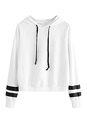 SweatyRocks Sweatshirt Girls Pullover Fleece Drop Shoulder Striped Hoodie for Girl White L