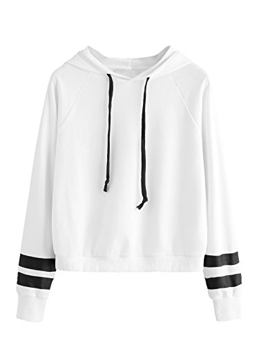 SweatyRocks Sweatshirt Girls Pullover Fleece Drop Shoulder Striped Hoodie for Girl White XL