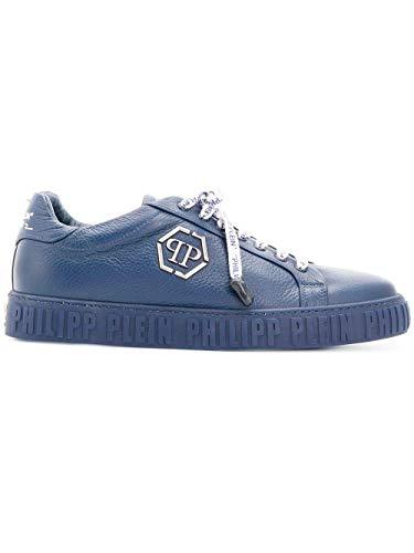 PHILIPP PLEIN Sneaker Uomo in Pelle Martellata Blu (39)