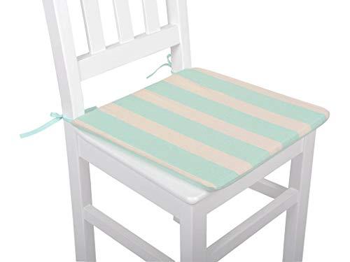 Mi Casa 40 x 40 groene strepen stoel kussen 40 x 41