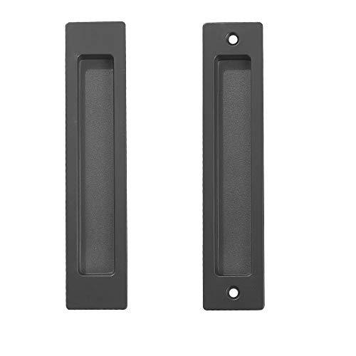CCJH Maniglia Invisibile per Porta Scorrevole Maniglie ad Incasso per Porte Armadi in Legno in Acciaio Nero 18cm 1 Pzs