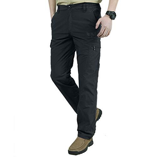 Xmiral Herren Cargohose Übergröße Knopfleiste Reißverschluss Multi-Tasche Hosen Sommer Schnelltrocknend und atmungsaktiv Jogginghose (Schwarz,4XL)