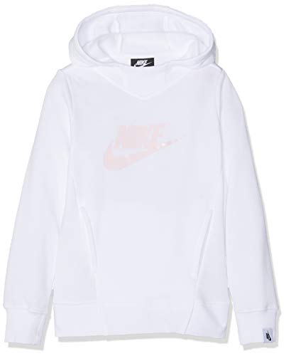 Nike Mädchen G NSW Hoodie PO PE GX Sweatshirt, White/Pink Foam, S