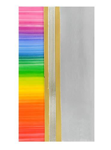 Pracht Creatives Hobby 7074-20515 Verzierwachsplatten Mix regenbogen / metallic, 3 halbe Wachsplatten, ca. 200 x 50 x 0,5 mm und ein Wachsstreifen, zum Modellieren und Verzieren von Kerzen