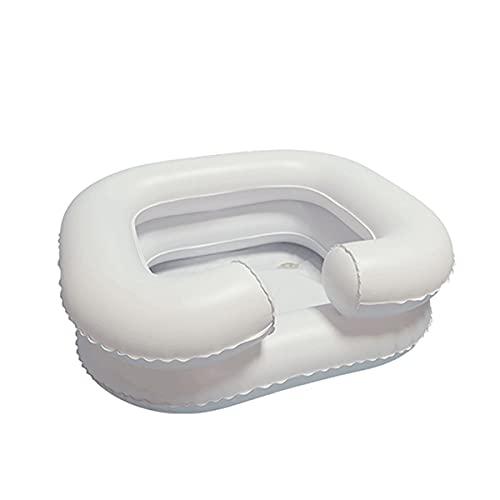 MTYQE Lavabo Inflable para el Cabello, con Bolsa de Ducha, cojín Impermeable, Almohada Inflable, Chal, inflador, Apto para Personas Mayores, Cuidado en el hogar, Embarazo