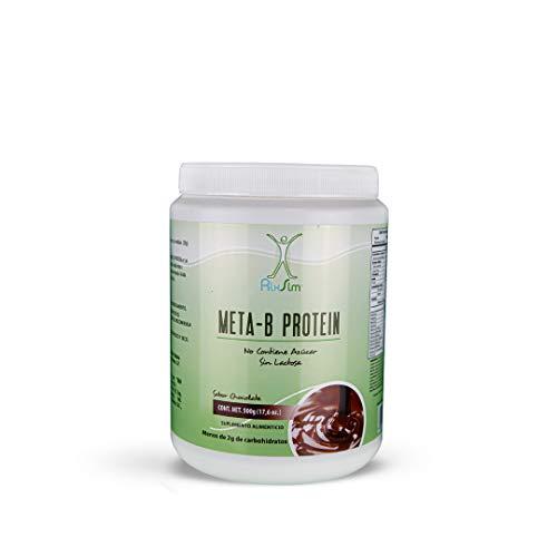 Meta-b Protein Chocolate Proteina en Polvo de Suero de Leche en Polvo de NaturalSlim- con aceite de coco ideal para el desayuno, sin azúcar, Contiene sólo 5 gramos de carbohidratos por porción. Viene reforzada con vitaminas y minerales. Producto Oficial de Frank Suárez