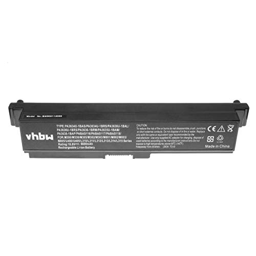vhbw Li-ION Batterie 6600mAh 10.8V pour Ordinateur Portable, Notebook Toshiba Satellite M308, M310, M311, M320, M321, M323, M325 comme PA3780U-1BRS.