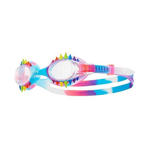TYR Kid's Tie Spikes, occhialino per Bambini swimple Tye Dye Unisex-Youth, Clear/Pink/Rainbow, Taglia unica