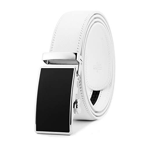 MGHN Cinturón Blanco For Hombre Rueda De Trinquete con Hebilla Automática Correa Resistente Al Desgaste Cinturones Piel Hombre (Belt Length : 130cm)