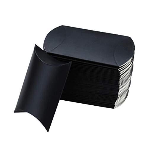 NUOBESTY Caja de Regalo de Almohada 100 Piezas con Cuerda de Cáñamo Bolsa de Favor de Boda Cajas de Dulces de Papel Kraft Cajas de Regalo de Forma de Almohada Cajas - Negro 9X6. 5X2. 5Cm