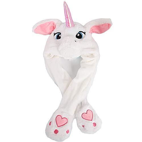 houfujunc Einhorn Horn Hut, Plüsch Einhorn Hut, Beweglicher Ohr-Einhorn Hut, Plüsch Tier Ohr Hut, aus Weichem Plüsch für Make-up-Party, Weihnachtsfeier (Weiß)