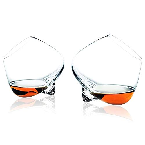 WANGIRL Classe Set di 2 Bicchieri di Whisky a Dondolo Whisky Vetro Tumbler Rum Bicchiere Vino Stile Classico Bicchieri da Vino Personalizzato Regalo per la Festa del papà da Uomo Unico