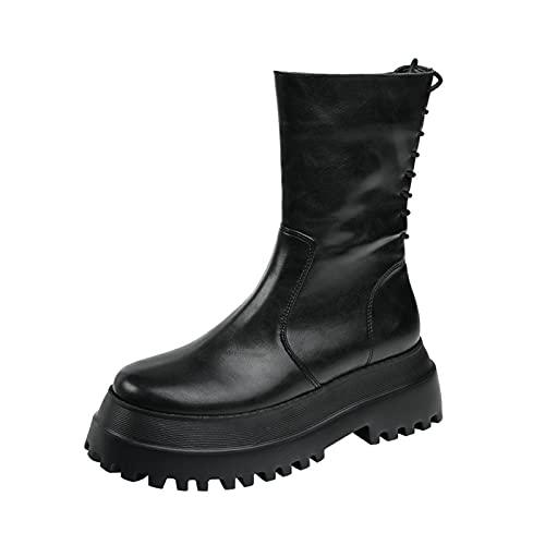 PJRYC Botas De Martin Botas Cortas para Mujer Botas Delgadas De Estiramiento De Botas De Tubo De Mitad De Espeso (Color : Black, tamaño : 35)