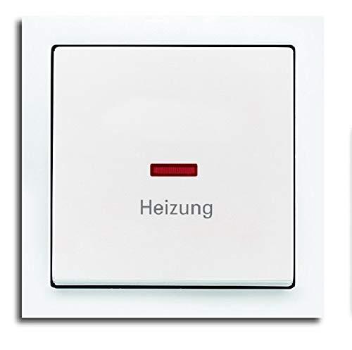 BUSCH JÄGER Komplettset Heizung-Not-Schalter – Heizungnotschalter 2-polig mit Schriftzug: Heizung – Wippkontrollschalter 2-polig mit Beleuchtung, rote Kalotte Typ: Future Linear Studioweiß Notschalter