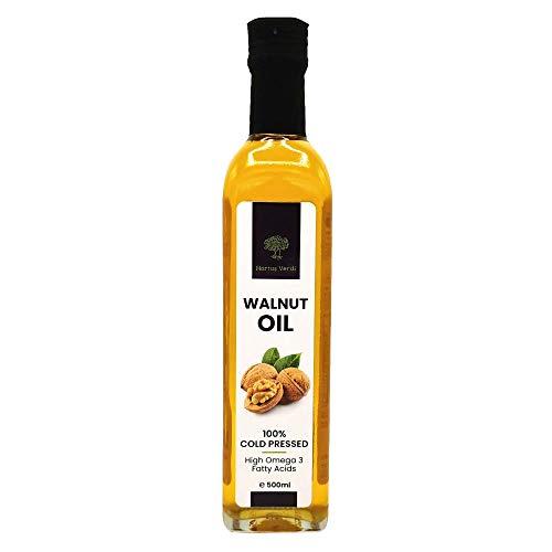 Aceite de Nuez 500 ml Hortus Verdi - Prensado en frío - 100% Natural - Origen UE - Vegano CRUDO - Virgen Extra - Sin refinar - Sin gluten - Dulces - Postres - Productos horneados - Gourmet (500)
