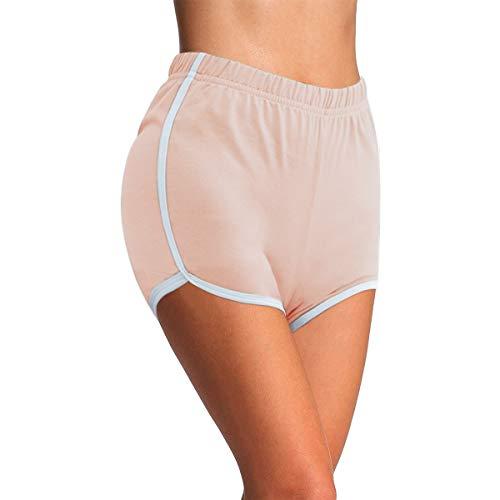 4How Damen Kurze Radlerhose Tanzshorts Sports Ballett Yoga Shorts Laufshorts Fitness Yoga Pants aus Baumwolle Rosa Dolphin S