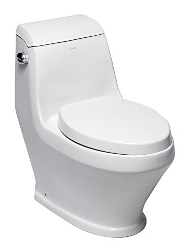 EAGO TB133 Single Siphonic Flush One Piece Ceramic Toilet, White