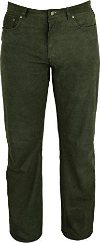 Jagd Lederhose lang Herren- Lederhose Damen lang - Lederjeans- Echt Leder Nubuk, Lederhose Jeans 501 Olive- Motorrad Lederjeans