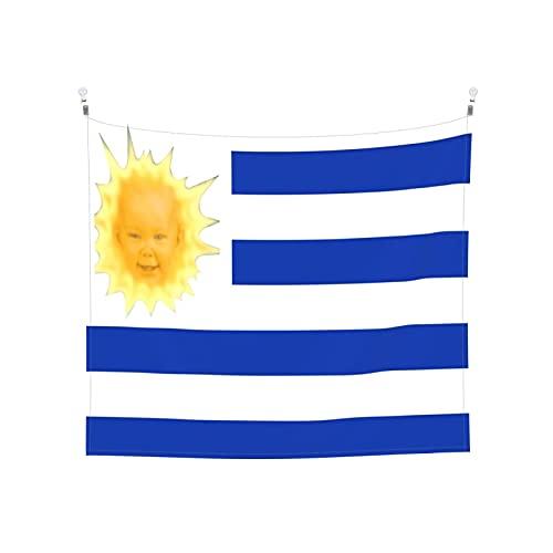 Uruguay's Flagge der Sonne Tapisserie Wandbehang Tarot Boho Beliebte Mystic Trippy Yoga Hippie Wandteppiche für Wohnzimmer Schlafzimmer Wohnheim Heimdekor Schwarz & Weiß Stranddecke