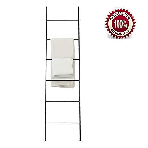 Escalera Decorativa Blanca Pequeña, Metal Inoxidable, con 6 Barras, sin Taladro, Práctico Escalera Toallero de Pie Ligeroblack