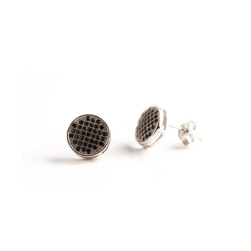 apop nyc Sterling Silver Micro Pave Black CZ Earrings Unisex Bezel Set [Jewelry]