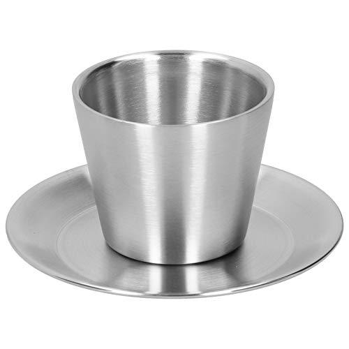 Taza de café de acero inoxidable con platillo - Taza de café de doble pared de 200 ml Tazas de café expreso Tazas Taza de capuchino Taza de té Taza Juego de tazas de café