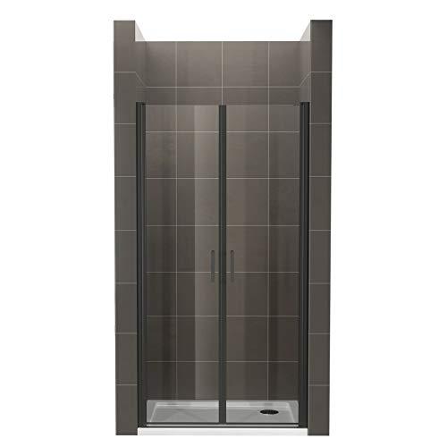 Duschtür STELLA 88x190 cm Nischentür Verstellbereich von 88-91 cm, Höhe: 190 cm, Dusche aus 6 mm Klarglas ESG Sicherheitsglas mit Nano und schwarze Aluminiumprofile - Alle Größen BC