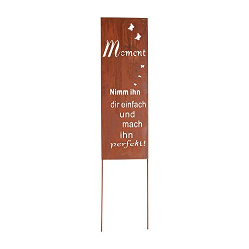 RM Design Gartendeko Gartenstecker aus Edelrost Metall Schild mit Spruch für Garten Terrasse oder Balkon 99 cm