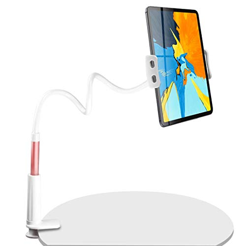 """SRMATE Tablet Holder for Bed, Gooseneck Tablet Mount Stand for 4.7-11"""" Devices iPad Pro iPhone Series/Nintendo Switch/Samsung Galaxy Tabs/Kindle Fire HD, 34in Overall Length (Rose Gold-White)"""