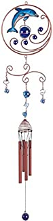 StealStreet Wind Chime Copper & Gem Dolphin Garden Decoration Hanging Collection