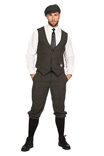 shoperama 20er Jahre Peaky Blinders Anzug Knickerbocker Herren-Kostüm Oliv-Schwarz Weste Schiebermütze The Roaring Twenties 20's, Größe:46