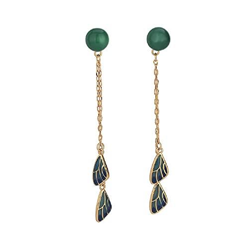 GGSDDU Pendientes largos de borla para mujer Cloisonne imitación verde calcedonia gota colgantes pendientes de metal cadena