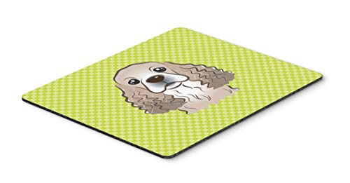Caroline's Treasures BB1278MP Checkerboard Lime Green Cocker Spaniel Mouse Pad, Hot Pad or Trivet, Large, Multicolor