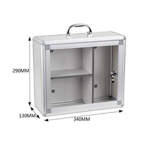 Jinxin-Jewelry Box wandmontage afsluitbaar medicijnkastje met glazen deur met handvat afmeting 340 * 130 * 290 mm