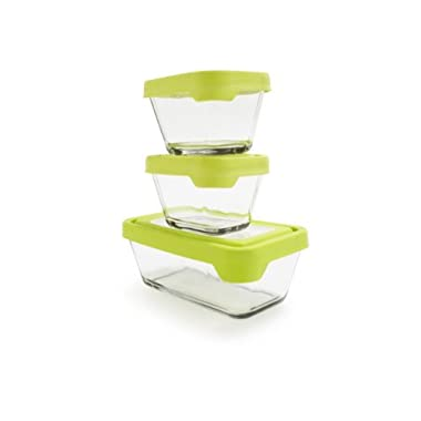Anchor Hocking TrueSeal Glass Food Storage Containers with Lids, Green, 6-Piece Set