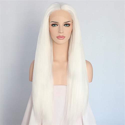 Fashion Lady longues droites en dentelle Oblique Frange avant Hairs blanc perruque de cheveux Set 26 pouces Perruques Femme XXYHYQHJD
