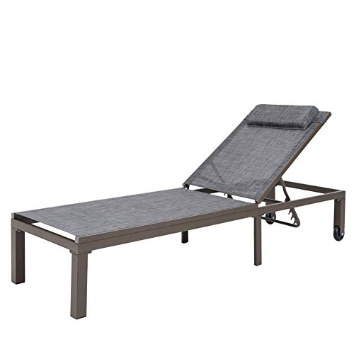 Crestlive Products Outdoor Adjustable Chaise Lounge Chair with Headrest and Wheels Five-Position Multiangle Recliner All Weather for Patio, Beach, Yard, Pool