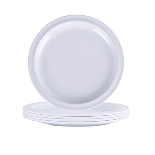 Melamine Plates Set - 7 Inch Salad Dishes Set, 4pcs Outdoor Dessert Plates Set, Dishwasher Safe, Break-Resistant, White