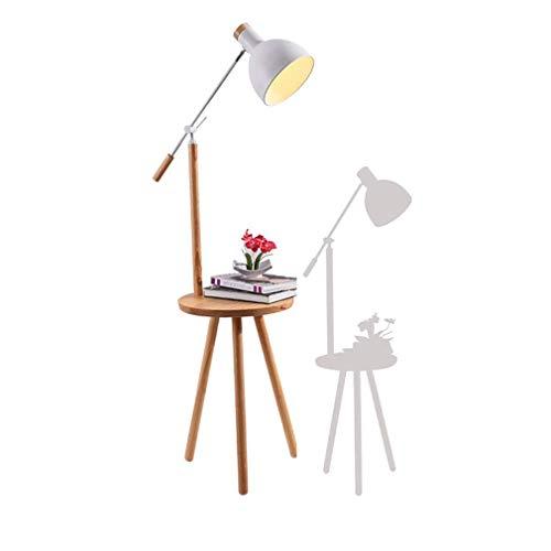 Haushaltsgeräte Holz Stehlampen Stativ Stehlampen mit Couchtisch und USB-Ladeanschluss Verstellbarer Lampenschirm E27 Lesestandlampe für Wohnzimmer Schlafzimmer Nachttisch Bürobeleuchtung Weiß Weiß