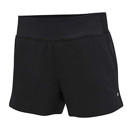 Layer 8 Women's Quick Dry Two in One Running Yoga Work Out Short with Compression Shorts Underneath (Medium, Jet Black)